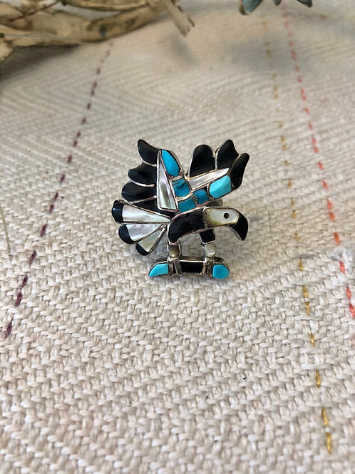 Jet, Turquoise, Mother of Pearl Inlaid Eagle Ring