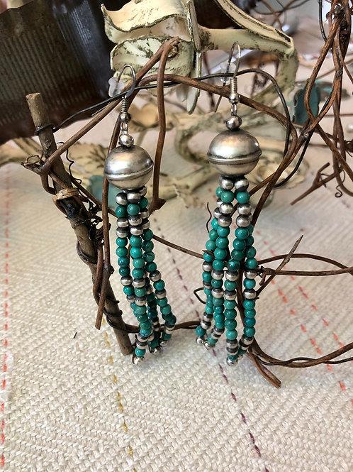 Navajo Pearl and Turquoise Tassel Earrings