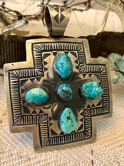 Sterling and Turquoise Cross Pendant