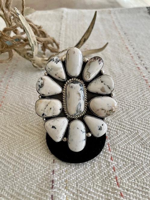 White Buffalo Cluster Ring