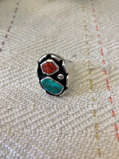 Chunky Inset Turquoise and Coral Ring