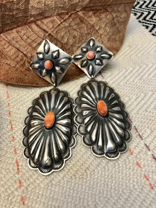Spiny Orange Concho Earrings