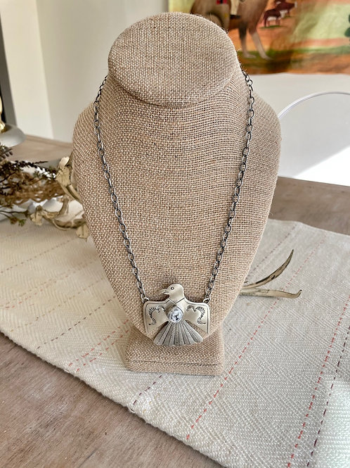 White Buffalo Thunderbird Bar Necklace