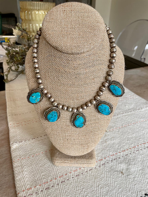 Navajo Pearl and Turquoise Pendants Choker