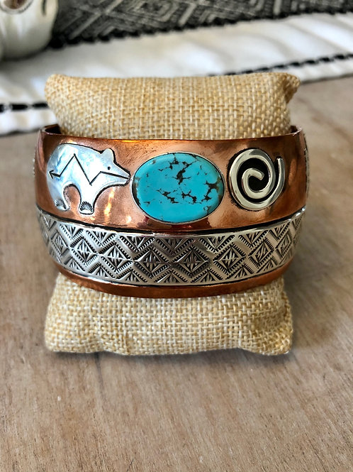 Copper Cuff with Sterling and Turquoise