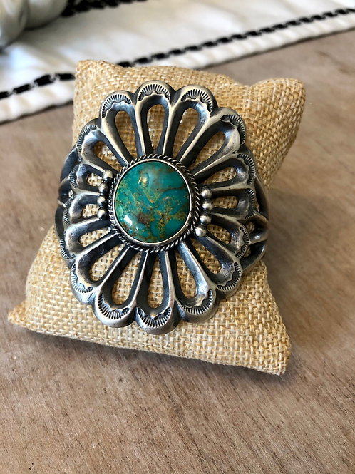 Sand-Cast Cuff with Inset Turquoise