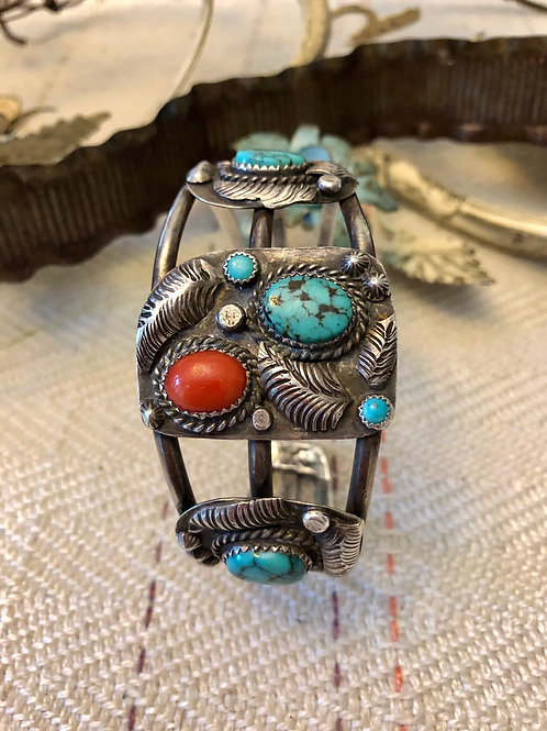 Vintage Coral and Turquoise Open Cuff