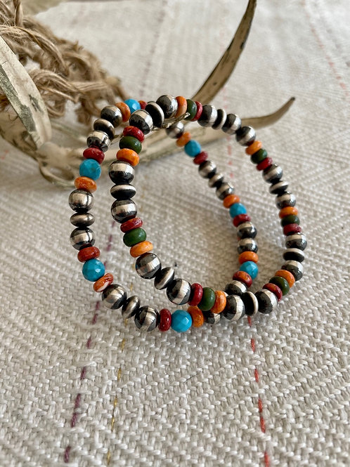 Navajo Pearl and Spiny Oyster Stretchy Bracelets