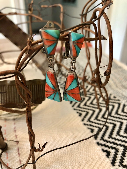 Vintage Clip-On Coral and Turquoise Earrings