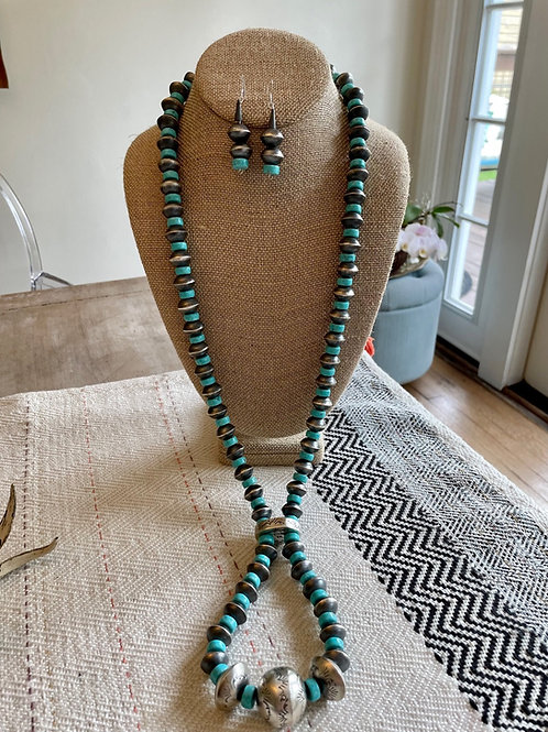 Navajo Pearl and Turquoise Necklace and Earrings Set