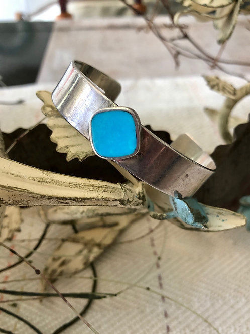 Modern Sterling and Turquoise Cuff Bracelet