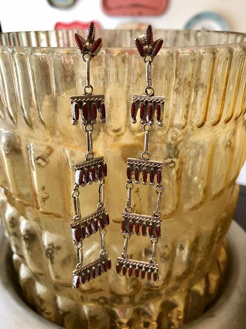 Zuni Coral Chandelier Earrings