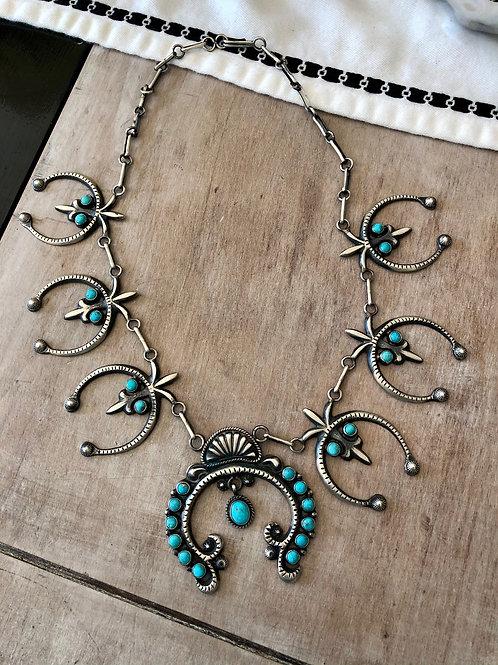 Sand-Cast Turquoise Squash Blossom on Handmade Chain