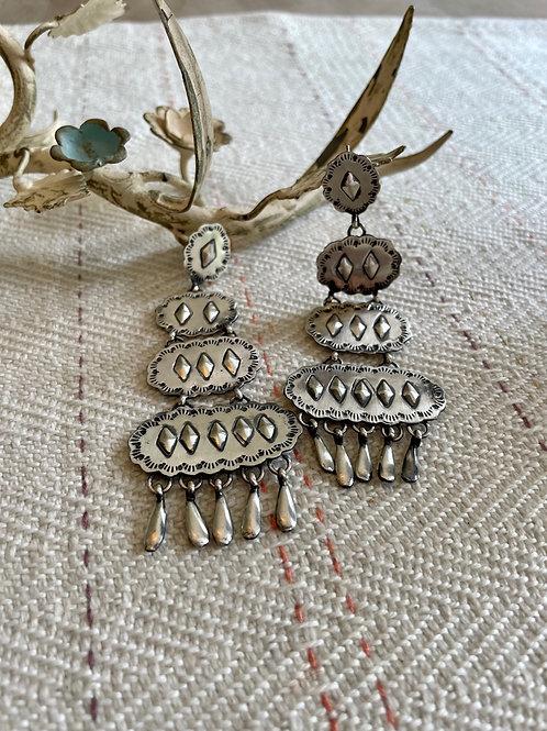 Hammered Sterling Chandelier Earrings
