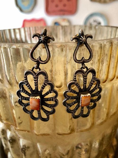 Sand Cast Orange Spiny Earrings
