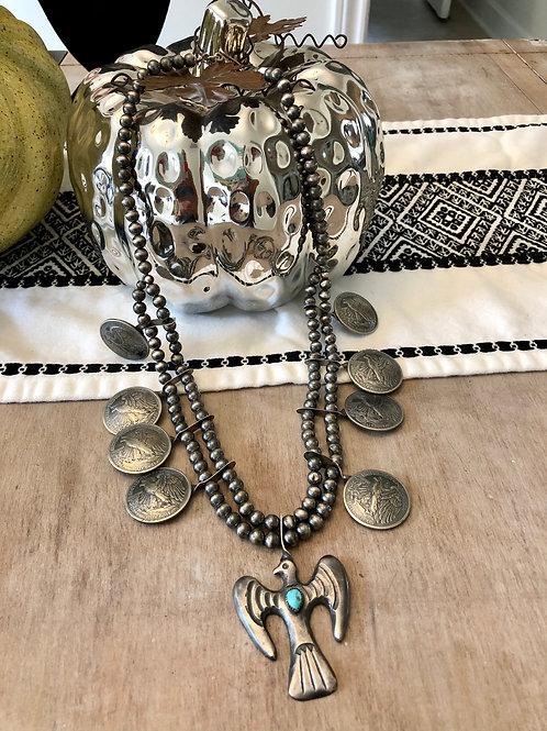 Thunderbird and American Eagle Half Dollar Squash Blossom Necklace