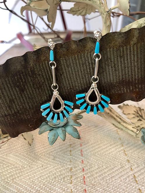 Zuni Turquoise Chandelier Earrings
