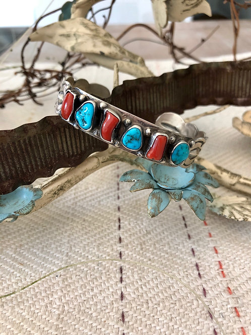 Jeff Largo Coral and Turquoise Cuff