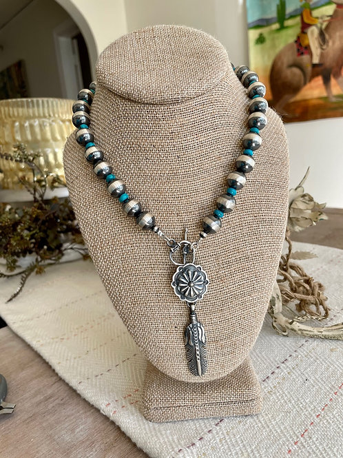 Turquoise and Navajo Pearl with Feather Necklace