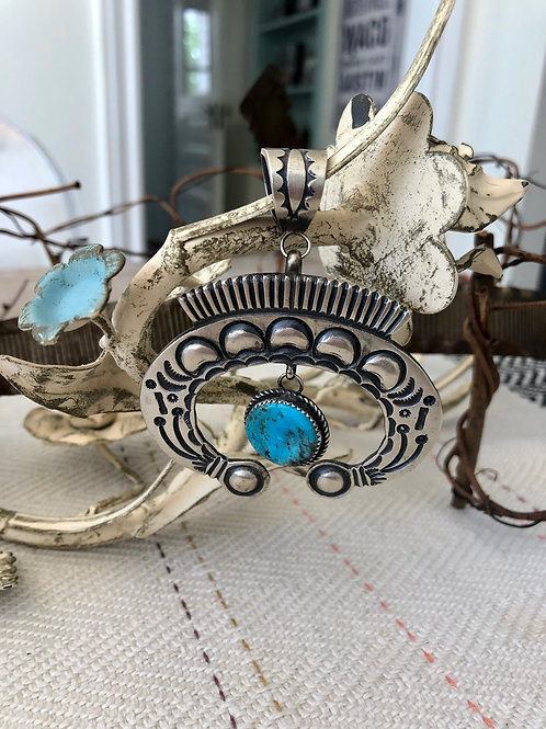 Sterling and Turquoise Naja Pendant