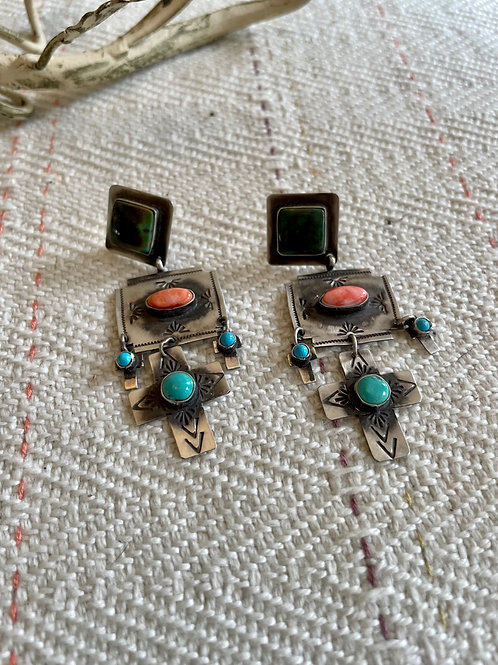 Turquoise and Orange Spiny Cross Earrings