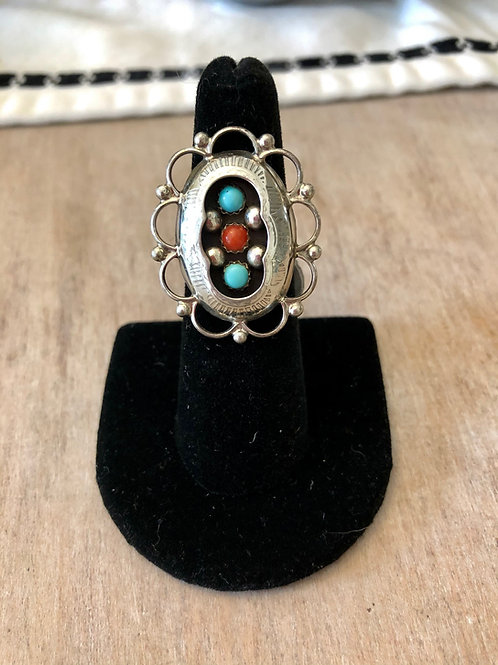 Coral and Turquoise Shadowbox Ring