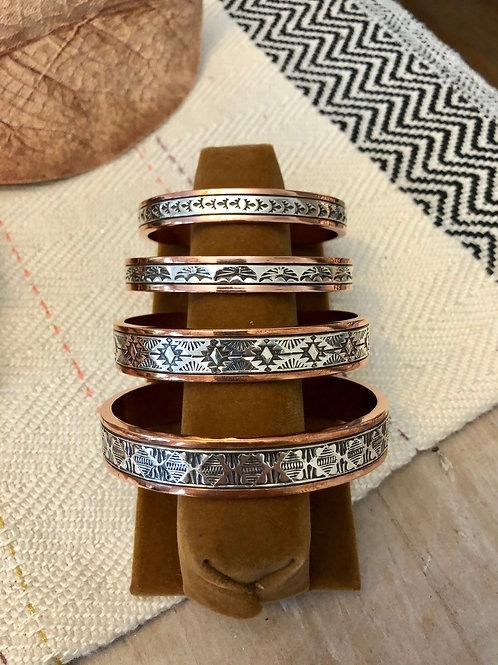 Copper and Sterling Cuff Bracelets