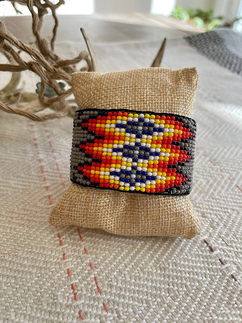 Leather Lined Grey Beaded Cuff