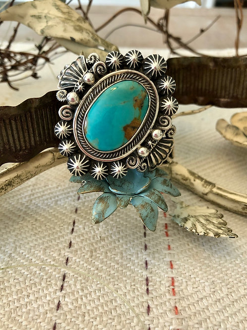 Large Navajo Turquoise and Sterling Cuff