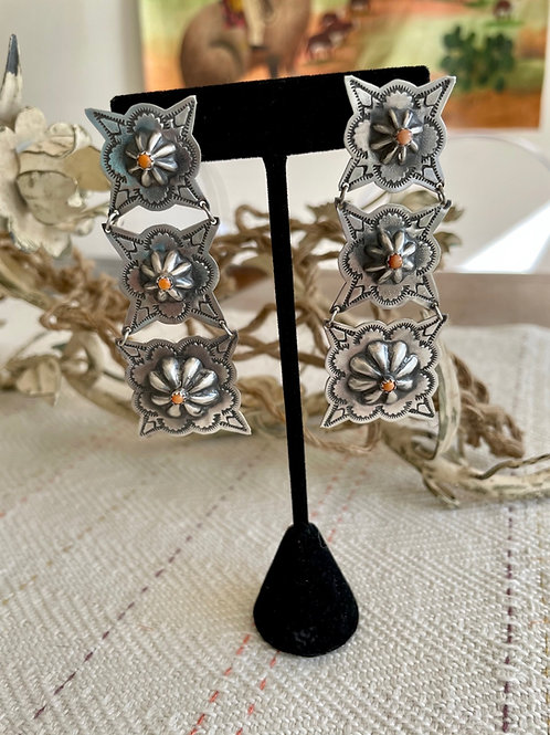 Rita Lee Spiny Oyster Three Tier Concho Earrings