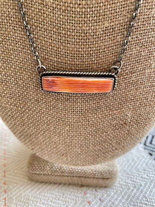 Long Orange Spiny Bar Necklace