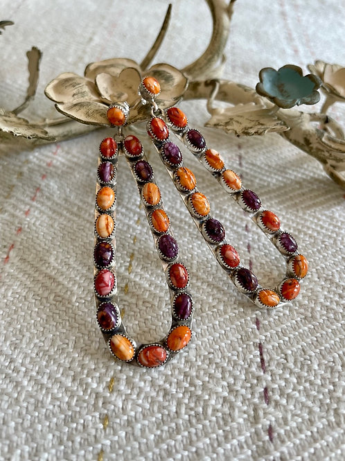 Purple and Orange Spiny Earrings