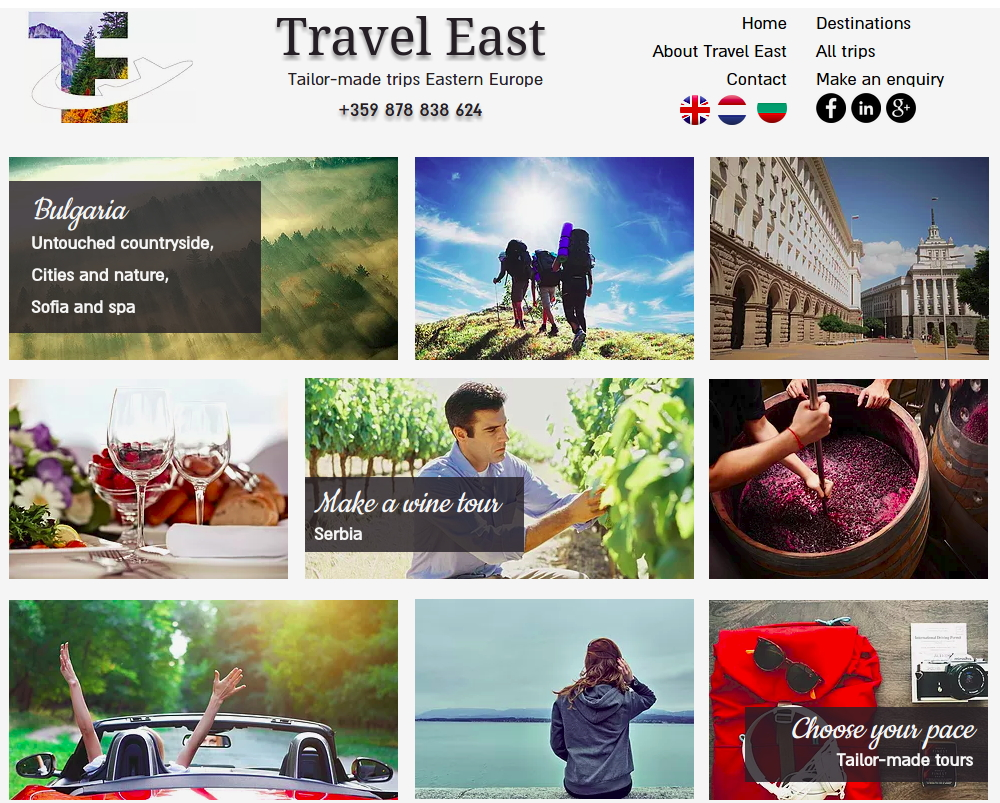 Travel East homepage