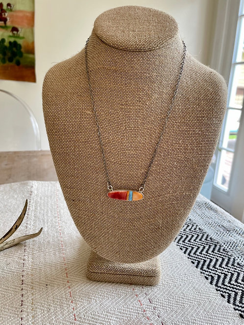 Orange Spiny and Opal Bar Necklace