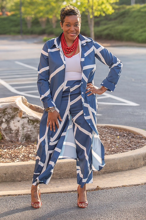 Patterned Duster/Palazzo Set