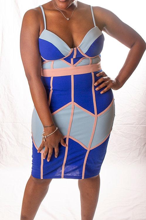 Blue Strapped Patterned Dress