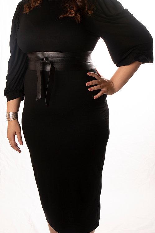 Button Shoulder Bishop Sleeve Pencil Dress