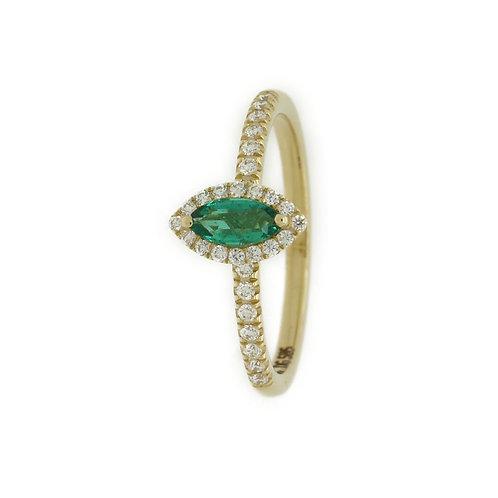 Bjørkehornet ring, smaragd og diamant