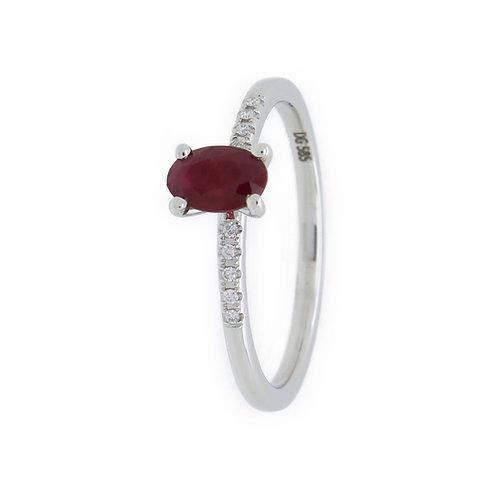 Sukkertoppen ring, diamant og rubin