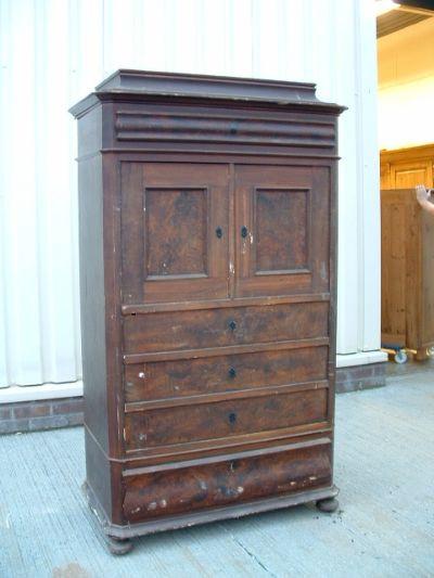 Old Danish antique pine cupboard - original paint