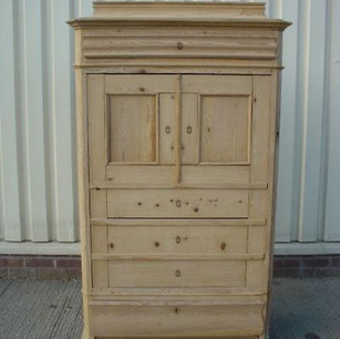Old Danish antique pine cupboard - stripped of paint