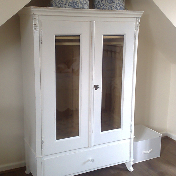 Old antique pine cupboard - stripped and painted with glass panels