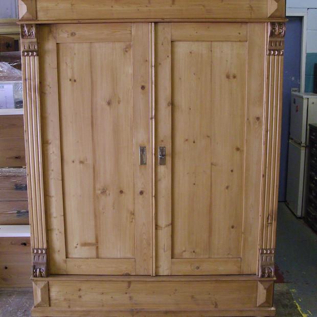 German knockdown wardrobe -finished in medium brown wax
