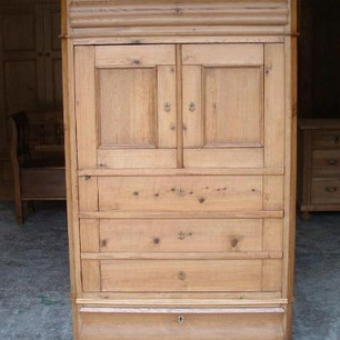 Old Danish antique pine cupboard - finished in medium brown wax