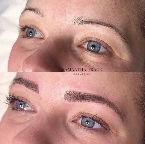 Brows before and after micro feathering