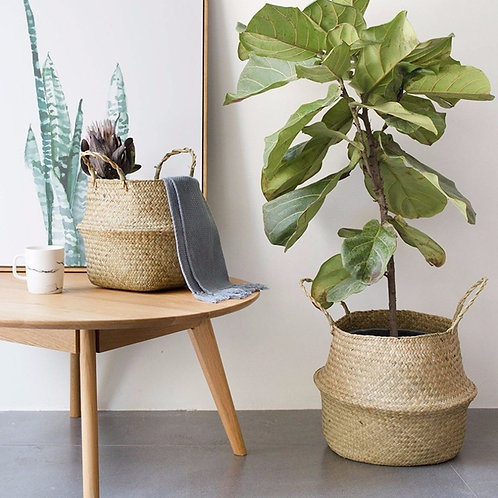 Foldable Seagrass Woven Storage Basket