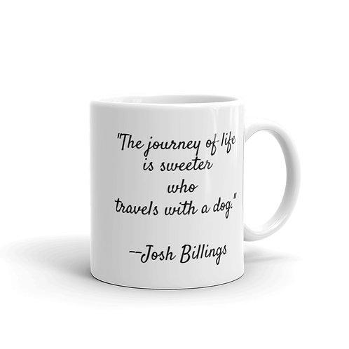 White glossy mug travel dog