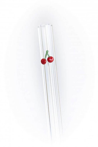 Cherries Accented Glass Straw