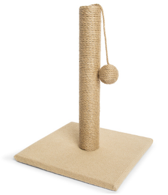 Cat scratcher pole with toy