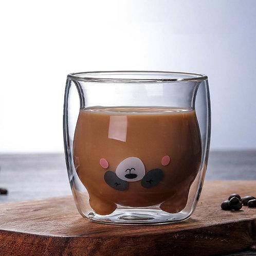 Creative Transparent Double Walls Glass Cartoon Bear